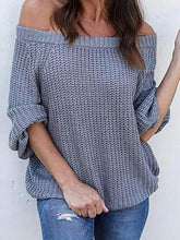 Load image into Gallery viewer, Off Shoulder  Plain  Basic Sweaters