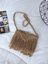 Load image into Gallery viewer, Vacation Fashion Casual Plain Knitting Rectangle Fringe One Shoulder Bag