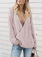 Load image into Gallery viewer, Sexy Deep V Collar Reversible Knit Plain Sweater
