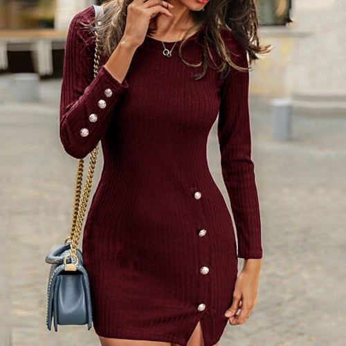 Sexy Bag Hip Long Sleeve Casual Sweater Dress