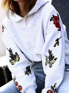 Printed Casual Long Sleeve Hoodies