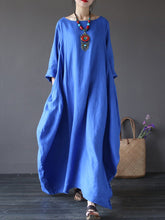 Load image into Gallery viewer, Oversized Round Neck No Pocket Plain Maxi Dress