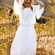 Load image into Gallery viewer, Cotton Lace Trumpet Sleeves Long Sleeves Loose Beach Holiday Dress