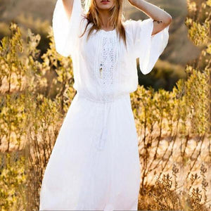 Cotton Lace Trumpet Sleeves Long Sleeves Loose Beach Holiday Dress