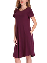 Load image into Gallery viewer, Round Neck  Plain Shift Dress