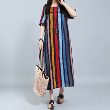 Load image into Gallery viewer, Round Neck Plain Cotton/Linen Striped Maxi Dresses