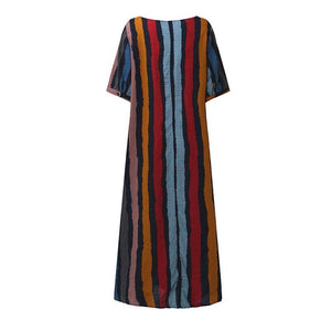 Round Neck Plain Cotton/Linen Striped Maxi Dresses