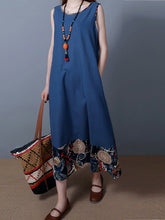 Load image into Gallery viewer, Round Neck  Patchwork  Printed Maxi Dress