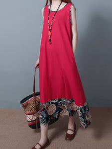 Round Neck  Patchwork  Printed Maxi Dress