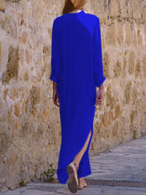 Load image into Gallery viewer, Split Neck  Plain Maxi Dress