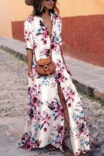 Load image into Gallery viewer, Sexy White Floral Print Short Sleeves Maxi Dress