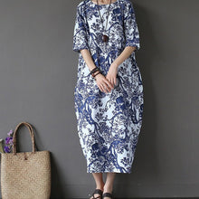 Load image into Gallery viewer, Cotton & Linen Large Size Loose Maxi Dress
