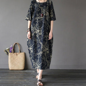 Cotton & Linen Large Size Loose Maxi Dress