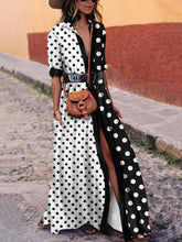 Load image into Gallery viewer, Fashionable V-Neck  Dot Vacation Dress