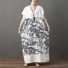 Load image into Gallery viewer, Women Summer Loose Printed Linen Maxi Dress