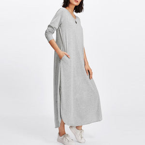 Round Neck Side Slit Plain  Maxi Dresses