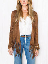 Load image into Gallery viewer, Collarless  Fringe  Plain  Long Sleeve Cardigan