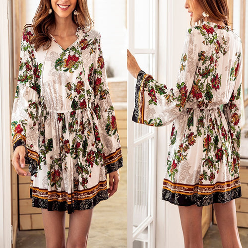 Fashion Floral Printed Long Sleeve Mini Dresses