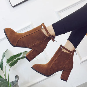 Round Head High Heel Booties Suede Martin Boots