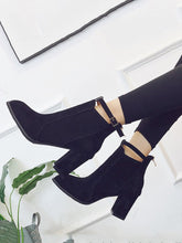 Load image into Gallery viewer, Round Head High Heel Booties Suede Martin Boots