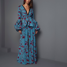 Load image into Gallery viewer, Sexy Deep V Collar Floral Printed Elastic Waist Jumpsuits