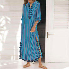 Load image into Gallery viewer, Cotton/Polyester Printed Stripe  Tassel Casual Shift Maxi Dress