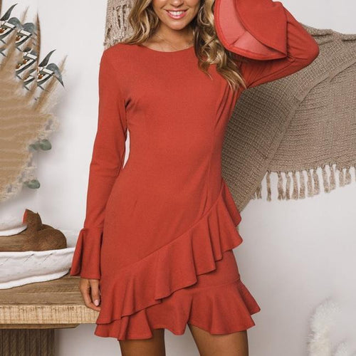 Elegant Jewel Neck Mandarin Sleeve Skater Dress