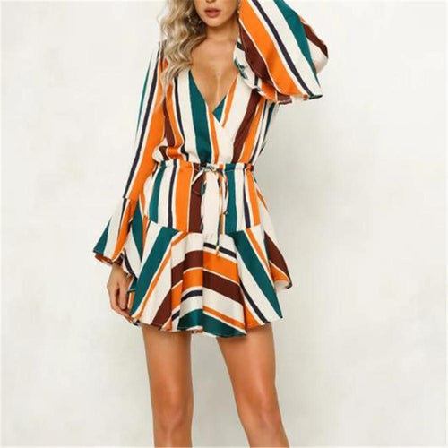 Sexy Strip Deep V Neck Falbala Long Sleeve Skater Dress