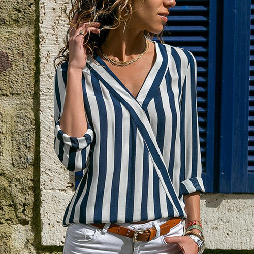 Striped V-Neck Long-Sleeved Blouses