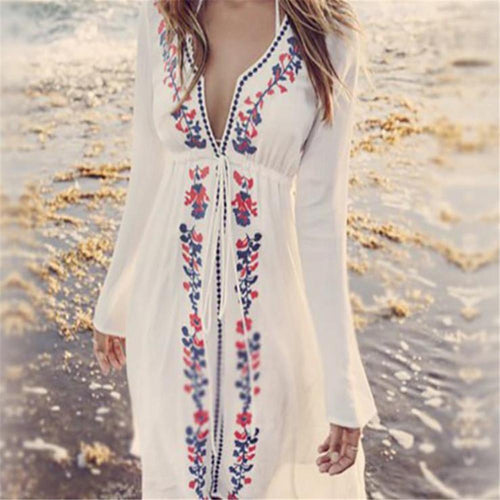 Sexy Floral Deep V Collar Long Sleeve Vacation Maxi Dress