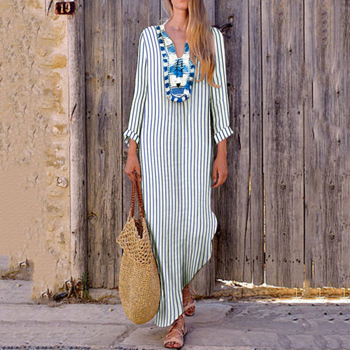 Sexy Loose Strip V Collar Long Sleeve Vacation Maxi Dress