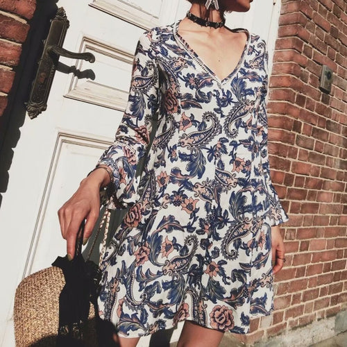 Sexy Floral V Collar Long Sleeve Ruffled Cuff Shift Dress