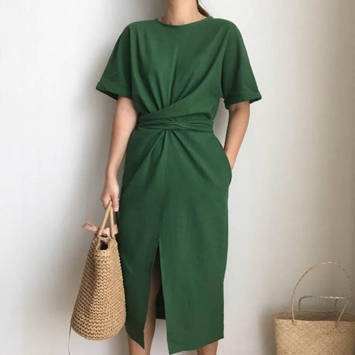 Round Collar Pure Color Bandage Shift Dress