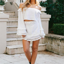 Load image into Gallery viewer, Sexy Off Shoulder Flare Long Sleeve Crop Top Fringe Skirt Suit