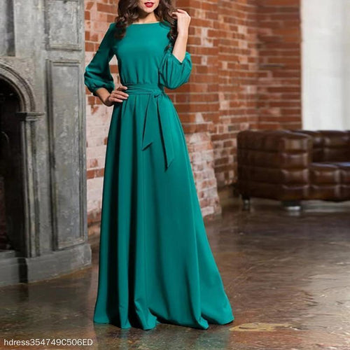 Solid Color Round Neck Long Sleeve Dress