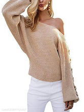 Load image into Gallery viewer, Off-Shoulder Strapless Bat Sleeve Loose-Knit Sweater