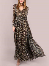 Load image into Gallery viewer, A Leopard Swagger Long-Sleeved Belt Maxi Dress
