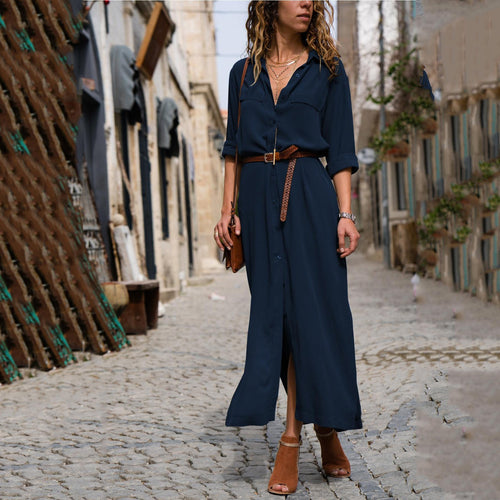 Fashion Loose Long-Sleeved Shirt Long Skirt Casual Dresses