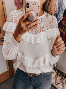 Round Neck  Lace Patchwork Plain  Blouses