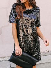 Load image into Gallery viewer, Crew Neck  Cutout Patchwork  Contrast Stitching Glitter  Plain Shift Dresses