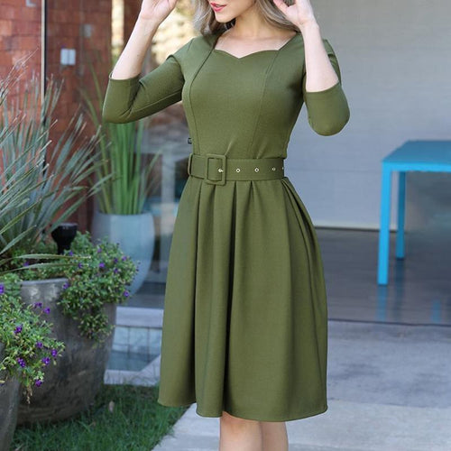 Fashion V Collar Defined Waist Skater Dress