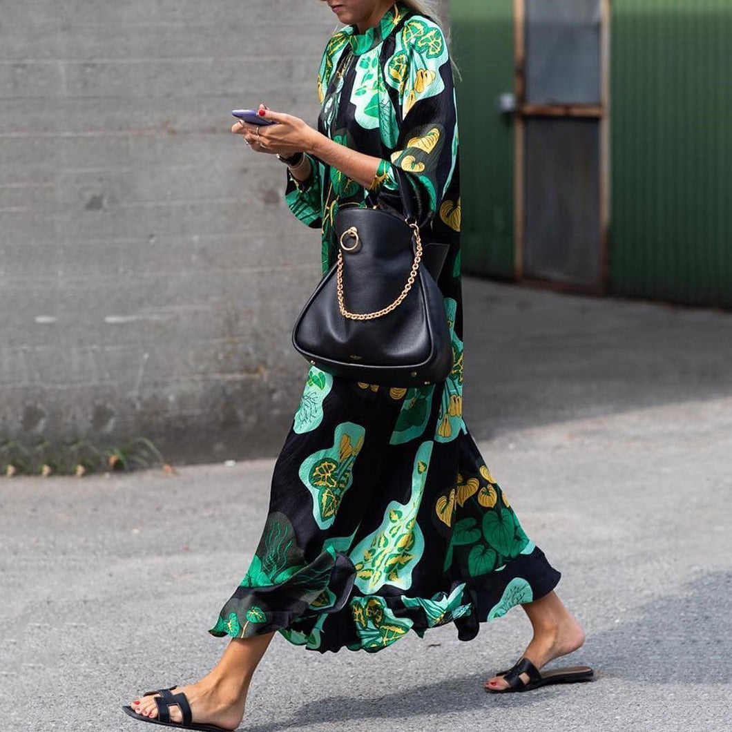 Stylish Green Floral Print Long Sleeve Maxi Dresses