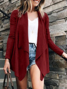 Fashion Irregular Plain Casual Outerwear