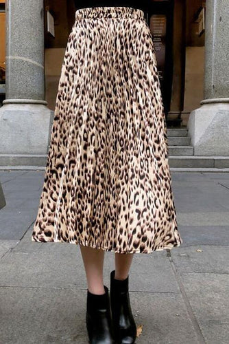 Lady Daily Chic Loose Leopard Print Elastic Waist Long Skirt
