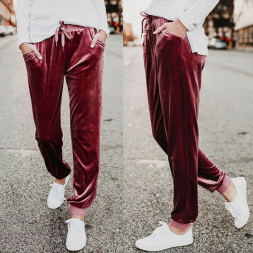 Fashion Velvet Casual Plain Pants