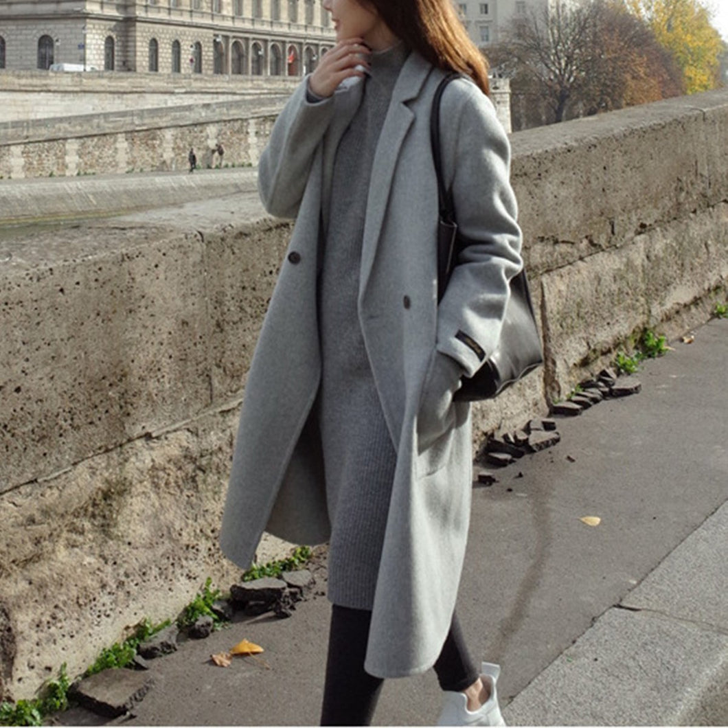Fashion Plain Straight Cashmere Coat Outerwear