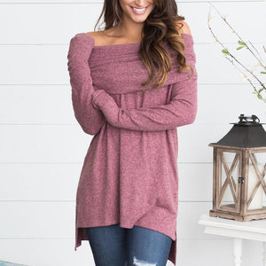 Sexy Off Shoulder Plain Long Sleeve T-Shirts