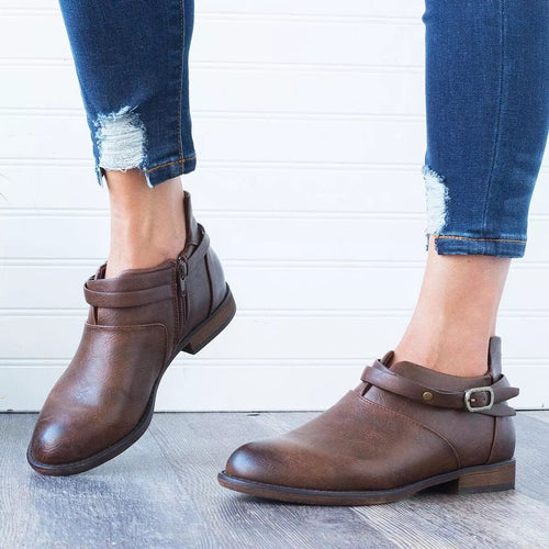 Fashion Round Head Square Low Heel Boots