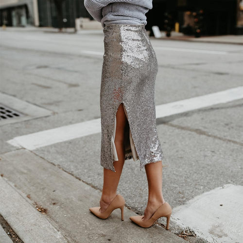 Fashion Plain Slim  Sequins Decorated Skirt