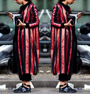 Fall And Winter   Fashion Striped Long Coat